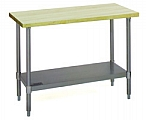 "MT2472B  24"" x 72"" hardwood table with flat top and galvanized adjustable undershelf."