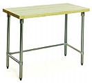 "MT2472ST 24"" x 72"" hardwood table with flat top and stainless steel tubular base."