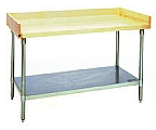 "MT3060S-BS 30"" x 60"" hardwood table with backsplash, end splashes and stainless steel adjustable undershelf."