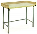 "MT3060GT-BS 30"" x 60"" hardwood table with backsplash, end splashes and galvanized tubular base."