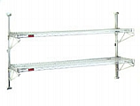 """PWE24-4S (4) 24""""-width shelves with 63"""" post, stainless steel finish, end unit - prepackaged, adjustable post wire wall mount."""