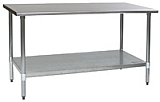 "T2424B 24"" x 24"" 16/430 stainless steel top worktable; flat top, galvanized legs and undershelf - budget series with 4 legs."