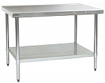 "T2424EM 24"" x 24"" 14/304 stainless steel top worktable; flat top, galvanized legs and undershelf - spec-master marine series with 4 legs. (Features marine counter edge to prevent spillage)."