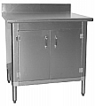 "T3036BA-BS-HGD 30"" x 36"" HGD series, knock down worktable with cabinet kit and hinged doors. Chrome pull handle, magnetic door catch and lift-off construction."