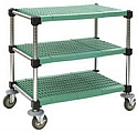 "U3-L1836PSM 18"" x 36"" LIFESTOR polymer utility cart, stainless steel finish with louvered shelves."
