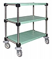 "U3-S1836PSM 18"" x 36"" LIFESTOR polymer utility cart, stainless steel finish with solid shelves."