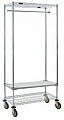 "URS1836C 18"" x 36"" mobile garment rack, with one top and one bottom wire shelf, plus one solid shelf."