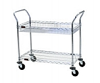 WBC1836C-1B1W 1 chrome basket shelf, 1 chrome standard shelf - utility carts with basket shelves.