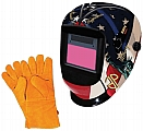 "Astro Pneumatic APT8097SE Large Viewing Area Deluxe Auto-Darkening Solar Welding Helmet & 13.5"" Leather Welding Gloves"