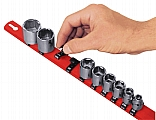 "Ernst ERN8300 1/4"" Universal Socket Rail Organizer with Dura-Clip Socket Clips - Red"