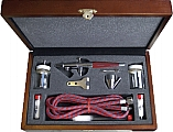 Double Action Airbrush Set in Wood Carrying Case