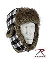 Rothco 9873 White Plaid Fur Flyer's Hat