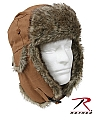 Rothco 9874 Brown Canvas Fur Flyer's Hat