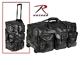 """Rothco 2981 25"""" Black Leather Patchwork Wheeled Duffle"""
