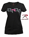 Rothco 5684 Womens Black T-Shirt W/Pink Gun