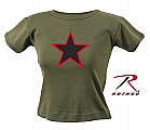 Rothco 8028 Womens Olive Drab Red China Star Ribbed Cotton T-Shirt