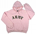 Rothco 1067 Womens Pink Army Hooded Pullover Sweatshirt
