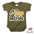 Rothco 67150 Infant Olive Drab 'Too Cute to Recruit' 1pc Bodysuit