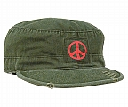 Rothco 4528 O.D. Vintage Military Fatigue Cap w/Red Peace