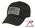Rothco 17781 Silver/Black American Flag Patch w/Hook Back