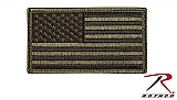 Rothco 17783 O.D./Black American Flag Patch w/Hook Back
