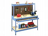 Tennesco ZWB-6024-FD Rivet-Style Workbench, with One-Full Width Drawer, Accent Blue