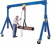 Vestil AHS-2-15-9 Adjustable Height Steel Gantry Crane, Cap 2,000 lbs